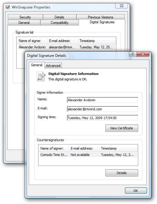 Digital Signatures in Windows Explorer