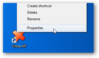 Close All - Shortcut Properties