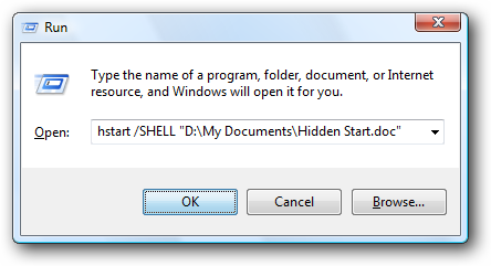 Hidden Start - Run Dialog
