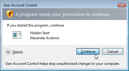 Hidden Start - UAC Confirmation Dialog