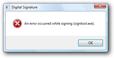 An error occurred while signing (signtool.exe).