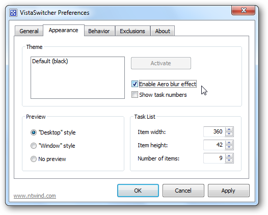 VistaSwitcher Preferences - Appearance