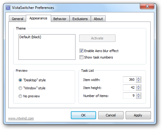 VistaSwitcher Preferences - Appearance Tab