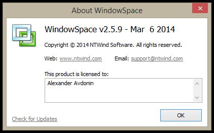 WindowSpace v2.5.9 - About Box