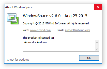 WindowSpace v2.6.0 - About Box