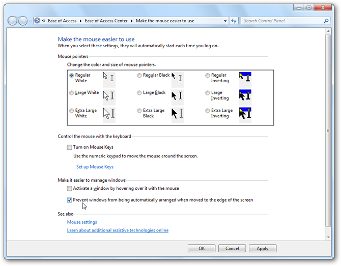 Windows 7 - Window Arrangement Settings