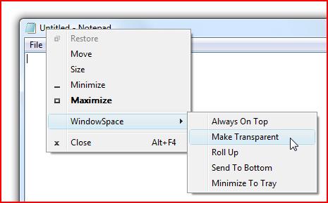 WindowSpace Menu Commands