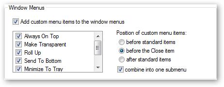 Window Menu Settings