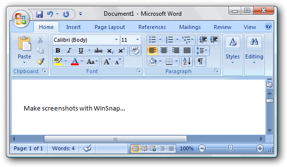 MS Word 2007 captured with WinSnap