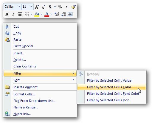 Excel 2007 Right-Click Menu