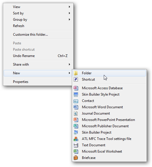 Explorer - New Folder Menu