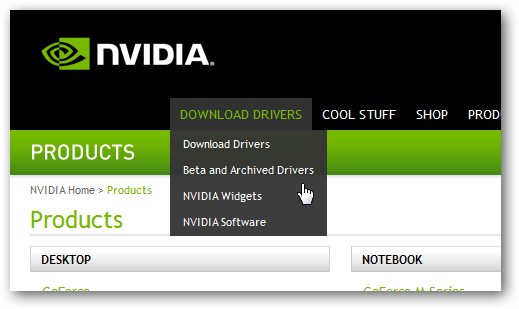 Website Menu - Nvidia.com