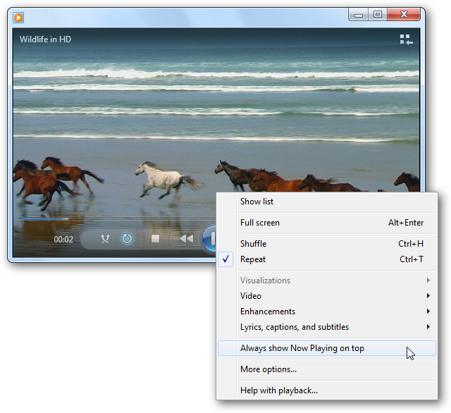Windows Media Player - Right-Click Menu