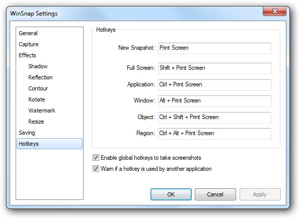 WinSnap Settings - Keyboard Shortcuts