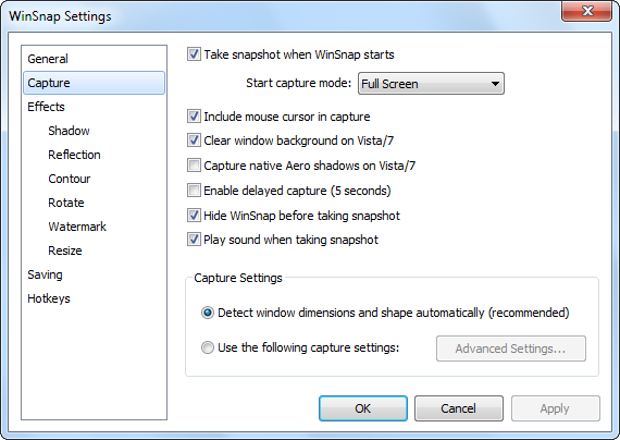 WinSnap Settings - Capture Page