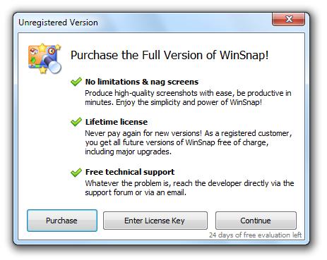 WinSnap v3.5 - Trial Reminder