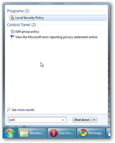 Start Menu - Local Security Policy