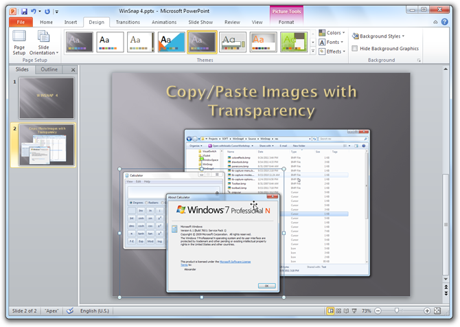 WinSnap 4 - Copy/Paste to PowerPoint 2010