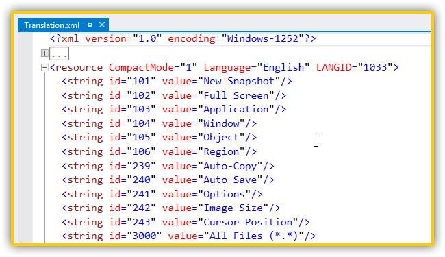 WinSnap - Translation XML
