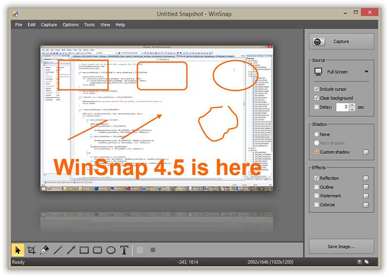 WinSnap - Утилита предназначена для создания и редактирования снимков экран